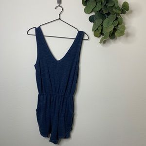 BDG NAVY ROMPER WITH POCKETS